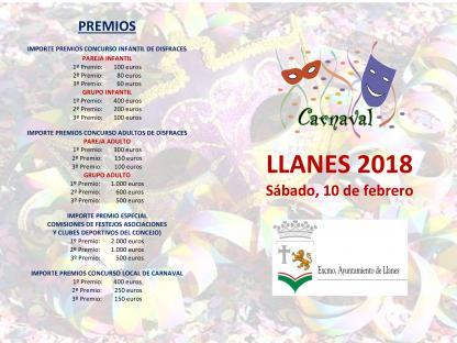 Carnavales en Llanes 2018. Díptico y premios